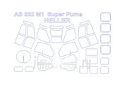 72291 KV Models 1/72 Набор окрасочных масок для Super Puma Exocet / AS-332M1 Super Puma