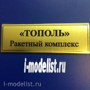 T04 Plate Plate for POPLAR (Rocket complex) 60x20 mm, color gold