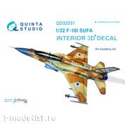 QD32031 Quinta Studio 1/32 3D Cabin Interior Decal F-16I (for Academy model)