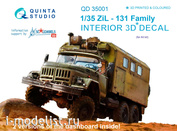 QD35001 Quinta Studio 1/35 3D Декаль интерьера кабины для семейства ЗиЛл-131 (для любых моделей)