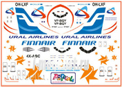pas040 PasDecals 1/144 Decals A-320 Ural airlines, FINNAIR, ISRAEL