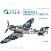 QD48103 Quinta Studio 1/48 3D Cabin Interior Decal Bf 109G-6 (for Tamiya model)