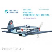 QD32007 Quinta Studio 3D Decal 1/32 of the interior cabin of the Yak-3 (for model Special Hobby)