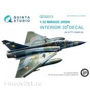 QD32013 Quinta Studio 1/32 3D Mirage 2000N Cabin Interior Decal (for Kitty Hawk model)