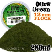 9948 Green Stuff World Оливково-зелёная трава, 12 мм - 280 мл. / Static Grass Flock 12mm - Olive Green - 280 ml