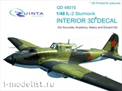 QD48010 Quinta Studio 3D Decal 1/48 of the interior cabin of the Il-2 (for models Accurate/Italery/Academy/Eduard)