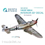 QD48104 Quinta Studio 1/48 3D Cabin Interior Decal Bf 109G-6 (for Zvezda model)