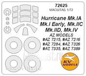 72625 KV Models 1/72 Hurricane Mk.I / IIC / IID / IV + маски на диски и колеса