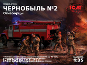 35902 ICM Chernobyl #2. Firefighters (AC-40-137A, 4 figures and a cardboard stand with a background)