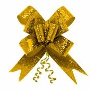 Подарочный бант-бабочка голография, Золотой