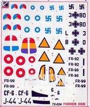 72024 Kanga 1/72 Декаль на самолет Fokker D-XXI