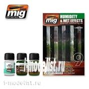 AMIG7409 Ammo Mig Набор для тонировки HUMIDITY AND WET EFFECTS (Сырость, потеки дождя, мох)