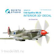 QD48119 Quinta Studio 1/48 3D Interior decal for Spitfire Mk.IX cabin (for Eduard model)