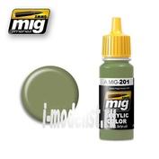 AMIG201 Ammo Mig Краска акриловая FS 34424 LIGHT GRAY GREEN (серо-зеленый светлый)