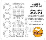 48009-1 KV Models 1/48 Маска для Bf-109F-2 / F-4 / R-3 / R-6 (Двусторонние маски) + маски на диски и колеса