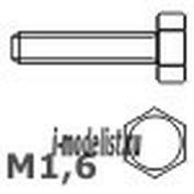 116 08 RB model Винт с восьмигранной головкой (кол-во 20 шт.). Материал: латунь. Hex head screws M1,6  L=8 D=1,0 S=2,6