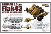 L3519 Great Wall Hobby 1/35 Германская зенитная пушка 3.7 cm Flak 43 w/Sd.Ah. 58 trailer