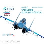 QD72020 Quinta Studio 1/72 3D Декаль интерьера кабины Суххой-27УБ (для модели Звезда)
