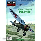MM 4-5-6/2014 Maly Modelarz Бумажная модель PZL P.11c
