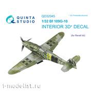 QD32045 Quinta Studio 1/32 3D Cabin Interior Decal Bf 109G-10 (for Revell model)