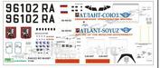 pas022 PasDecals Decals 1/144 Scales Ilushin-96-400 Atlant Soyuz