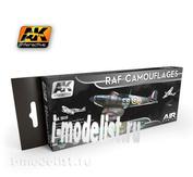AK-2010 AK Interactive Набор из восьми красок  RAF CAMOUFLAGES (камуфляжи королевских ВВС Великобритании )