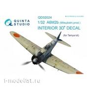 QD32024 Quinta Studio 1/32 3D Cab Interior Decal A6M2b (Mitsubishi prod.) (for Tamiya model)
