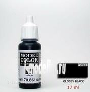 70861 Vallejo Краска акриловая `Model Color Глянцевый черный/Glossy black