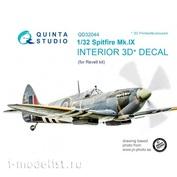QD32044 Quinta Studio 1/32 3D Декаль интерьера кабины Spitfire Mk. IX (для модели Revell)