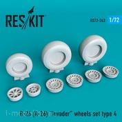 RS72-0263 RESKIT 1/72 Смоляные колёса для B-26 (A-26) Invader, тип 4