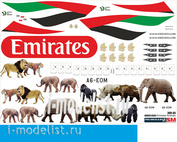 380-03 PasDecals Decal 1/144 Scales on the Airbus A 380 of Emirates Animals