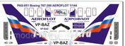 pas051 PasDecals Decals 1/144 Scales Boeing 767-300 Aerofot