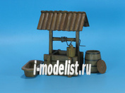 ED-3505 Eureka 1/35 Wooden Water Well with wooden bucket, wooden barrel and cast iron bathtub.