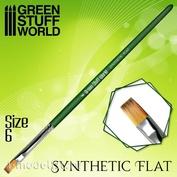 2456 Green Stuff World Кисть Плоская Синтетическая Размер 6 / GREEN SERIES Flat Synthetic Brush Size 6