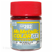 GX202 Gunze Sangyo Paint Mr. Hobby Mr. Metallic Color GX: Metallic Red, 18 ml.