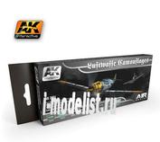 AK2001 AK Interactive Набор из восьми красок LUFTWAFFE CAMOUFLAGES (Камуфляжи Люфтваффе)