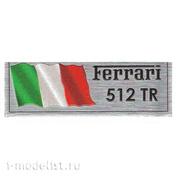 Т307 Plate Табличка для Ferrari 512 TR 80х30 мм, цвет серебро