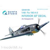 QD48156 Quinta Studio 1/48 3D Cabin Interior Decal FW 190A-5 (for Hasegawa model)