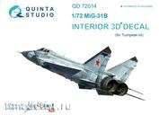 QD72014 Quinta Studio 1/72 3D cabin interior Decal MiG-31B (for the Trumpeter model)