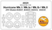 48029 KV Models 1/48 Маска для Hurricane Mk.I / Mk.Ib + маски на диски и колеса