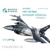 QD48035 Quinta Studio 1/48 3D Декаль интерьера кабины F-16C (для модели Hasegawa)