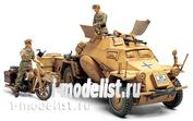 35286 Tamiya 1/35 Немецкий БТР Sd.Kfz.222 африканский корпус, мотоцикл DKW Nz350, 3 фигуры, фототравление, металлический ствол.