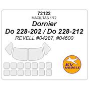 72122 KV Models 1/72 Набор окрасочных масок для остекления модели Do-228