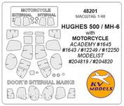 48201 KV Models 1/48 Маски для Huges500 + мотоцикл