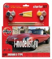 55200 Airfix 1/32 Jaguar E-Type Starter Set (в набор входят краски, кисть и клей)