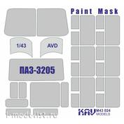 M43 024 KAV Models 1/43 Окрасочная маска для остекления автобуса ПАЗ-3205