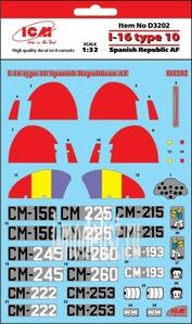 D3202 ICM 1/32 Декаль для И-16 тип 10 ВВС Испанской республики