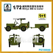 PS720046 S-Model 1/72 Willys MB & Trailer