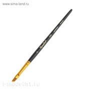 ЖС6-06,05Ж Roubloff Кисть рыжая жесткая синтетика/наклонная 6/ ручка короткая черная матовая/желтая обойма