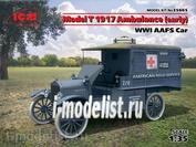 35665 ICM 1/35 МодельT 1917 г. санитарная (раннего выпуска), Автомобиль американской санитарной службы IМВ